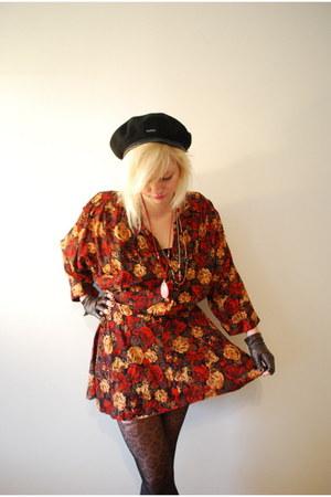 black Kangol hat - red vintage dress - dark brown thrifted gloves - black tights