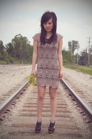 light brown crochet Forever 21 dress - black H&amp;M top - black benched Jeffrey Cam