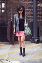 black snakeskin print Jeffrey Campbell boots - heather gray linen Zara jacket