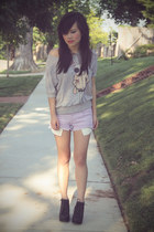light purple distressed hot Forever 21 shorts - heather gray print Fifi Lapin ju