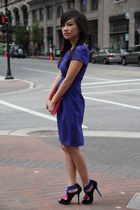 blue asos dress - black colorblock Zara heels - hot pink large Zara wallet