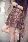 Brown-leopard-print-romwe-dress-silver-spiked-forever-21-bracelet-black-lace