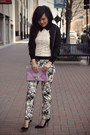 Light-purple-floral-print-zara-pants-black-silk-bomber-forever-21-jacket