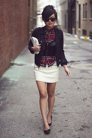 brick red checkered Zara shirt - black cropped waxed Zara jacket