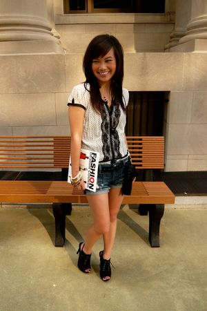 white Forever 21 blouse - blue Wet Seal shorts - black Forever 21 shoes - gold F