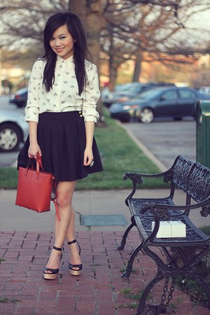 burnt orange Zara bag - black basic pleated Forever 21 skirt - ivory Zara blouse