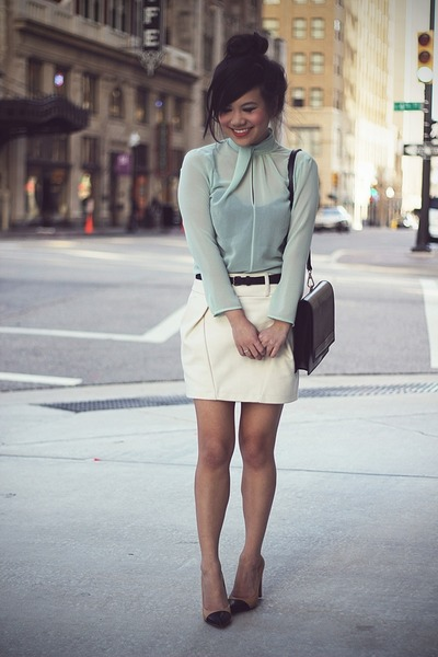 black Zara bag - ivory united colors of benetton skirt - aquamarine Zara blouse