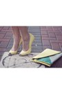 Light-yellow-zara-heels-black-fit-flare-zara-dress-silver-silk-h-m-jacket