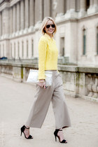 beige pants - light yellow jumper - black Zara heels