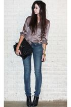 blue skinny H&M jeans - black ankle Steve Madden boots - black asos purse