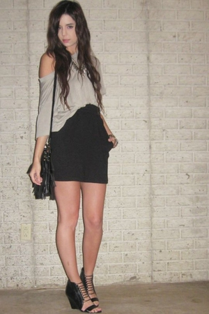 American Apparel t-shirt - forever 21 skirt - Aldo shoes - forever 21 purse - fo