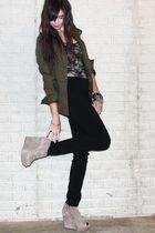 green H&M jacket - black Forever 21 top - black H&M divided black pants - beige