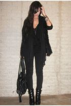 black Zara purse - black alice  olivia for Payless boots - black H&M jeans