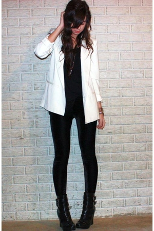white Silence &amp; Noise blazer - black wedge biker alice  olivia for Payless boots