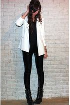 white Silence & Noise blazer - black wedge biker alice  olivia for Payless boots