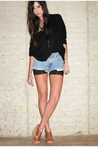 forever 21 sweater - Vintage Levis shorts - H&M leggings cut into shorts shorts