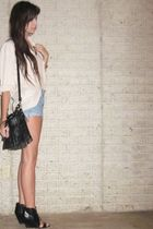 Zara shirt - vintage levis shorts - forever 21 purse - Aldo shoes - forever 21 n