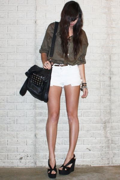 black studded Zara bag - black platform wedge Jeffrey Campbell shoes