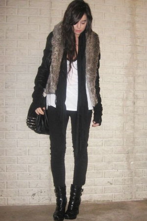 black Zara purse - black alice  olivia for Payless boots