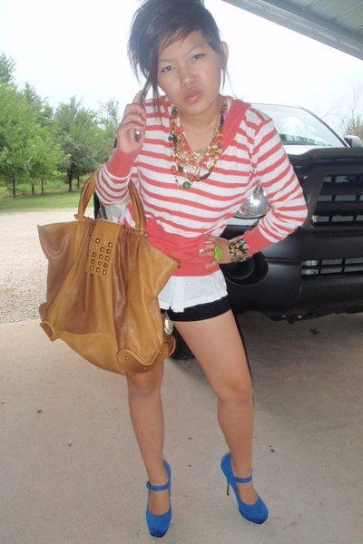 Target sweater - forever 21 top - forever 21 purse - Wet Seal shorts - forever 2