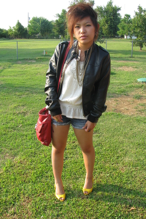 Forever21 jacket - hollister shorts - forever 21 necklace - ann taylor top