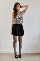 beige kimnmis top - black kimnmis shorts - black Jeffrey Campbell shoes - silver