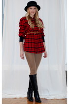 black boots - black hat - black sweater - tan leggings - ruby red shirt - tawny