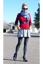 gray Target boots - gray simply vera wang tights - gray Forever 21 dress - red O