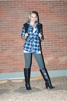 black Kors by Michael Kors boots - gray Forever 21 leggings - blue OP shirt - bl