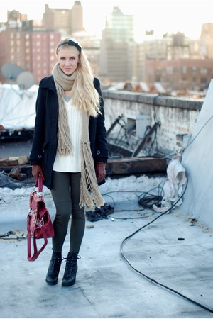dark green pants - black coat - maroon bag - off white sweater - black boots - t