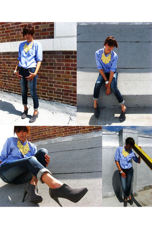 Gap shirt - bib necklace by mags accessories - parisian booties shoes - Uniqlo p