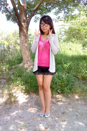 beige Mango cardigan - silver SO Fab shoes - black Roxy skirt - pink bench top -