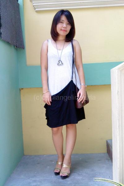 white dress - brown Esprit purse - gold bonita shoes