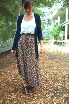 black vintagemoms skirt - white H&M shirt - blue Wet Seal cardigan - black Urban