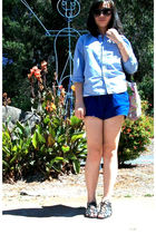 blue from childhood blouse - blue from dad shorts - black Urban Outfitters shoes
