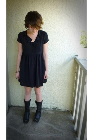 black motorcycle Buffalo Exchange boots - black silk Forever 21 dress