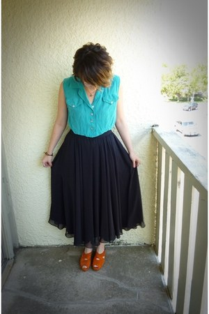 black Buffalo Exchange skirt - orange vintage from Ebay shoes