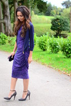 purple one shoulder Jay Godfrey dress - snakeskin H&M sandals