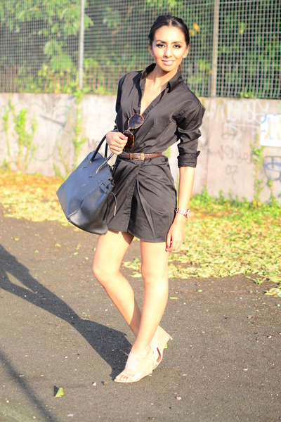 shirt dress jfnc dress - tote Hermes bag - cream sling ons Alexander Wang heels