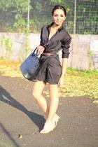 shirt dress jfnc dress - tote Hermes bag - cream sling ons Alexander Wang heels