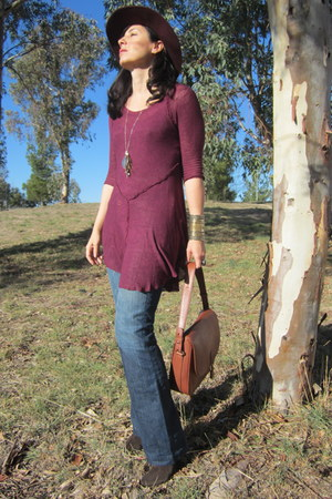 Target hat - Hugo Boss boots - free people dress - banana republic jeans