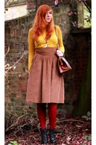 tan La Redoute skirt - black Pimkie boots - brick red new look tights