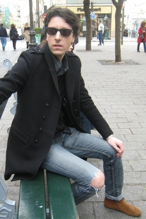 Minnetonka shoes - The Kooples coat - Levis shirt - Levis jeans