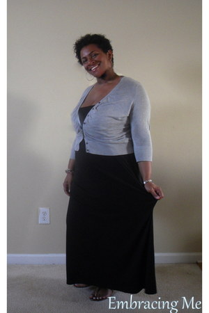black maxi dress Target dress - heather gray thrifted vintage cardigan