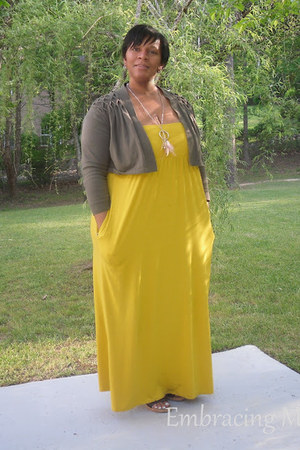yellow maxi Target dress - army green cropped calvin klein cardigan