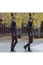 black leather biker H&M jacket - dark gray leather boots Bershka boots