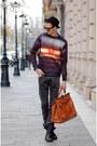 Black-bershka-boots-black-vintage-hat-carrot-orange-choiescom-sweater