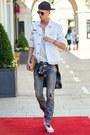 White-vans-shoes-navy-diesel-jeans-white-philipp-plein-jacket