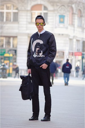 black Zara jeans - black Givenchy jacket - white H&M shirt - black bag