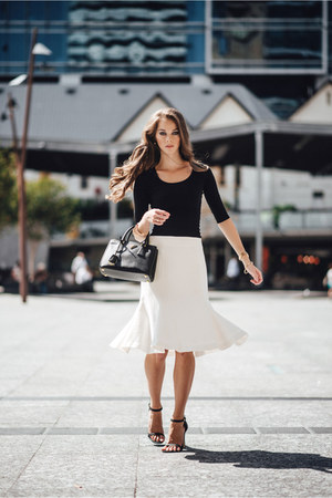 black saffiano tote Prada bag - white Country Road skirt - black asos top
